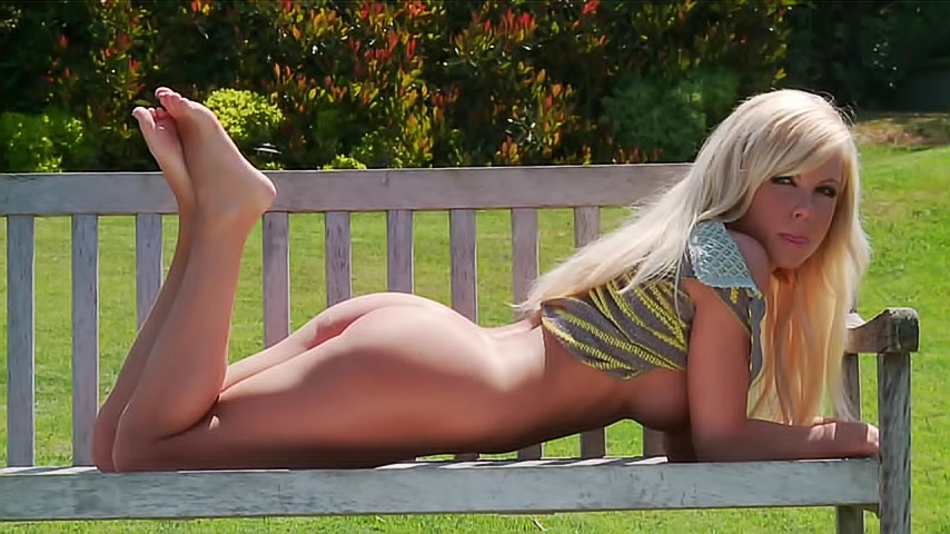Naked girl on park bench pity